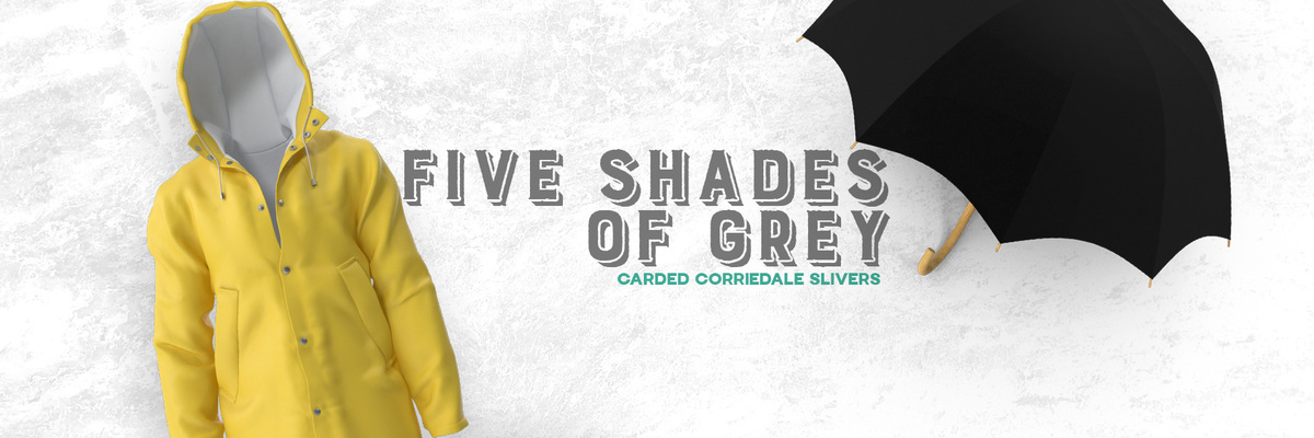 Five Shades Of Grey Carded Corriedale Slivers